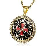 BOBIJOO JEWELRY - Colgante Templario 41mm Acero de Oro de Strass de Circonio de la Cruz Non Nobis +...