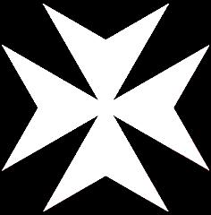 cruz de malta blanca pate con forma de V en sus brazos