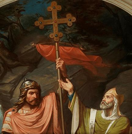Cuadro pintado por Luis de Madrazo y Kuntz en el que sale Pelayo enarbolando la Cruz de la Victoria antes de la batalla de Covadonga.