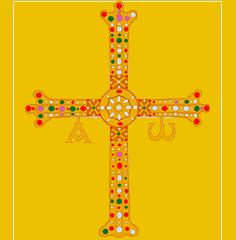 Ilustración de la Cruz de la Victoria con la letra alfa y omega colgando de sus brazos.