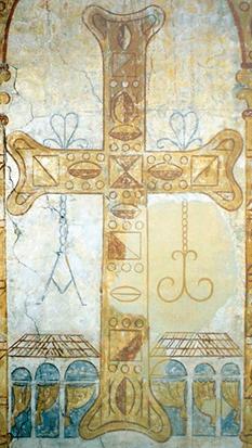 Fresco de la iglesia de San Julián de los Prados en la que aparece representada la Cruz de la Victoria con las letras griegas alfa y omega.