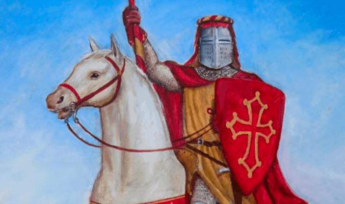 Ramón VII con la cruz de Occitania o Cátara en el escudo