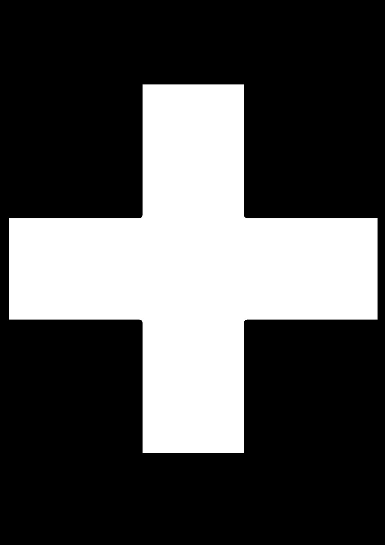 Cruz griega para colorear como la cruz roja o cruz verde de las farmacias