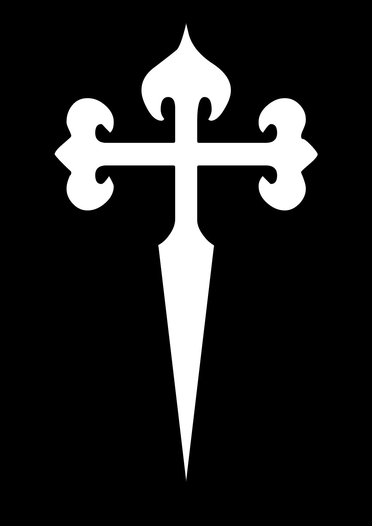 El famoso símbolo de la orden de caballeros de santiago llamada cruz de Santiago para colorear
