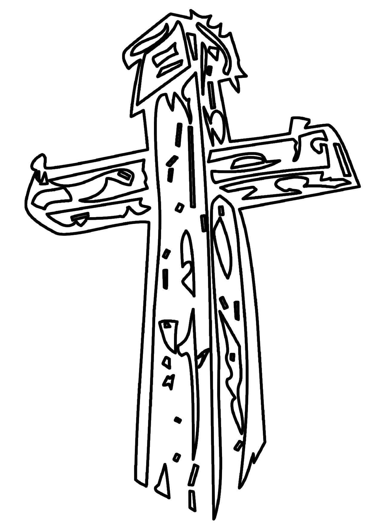 Una cruz latina detallada para colorear