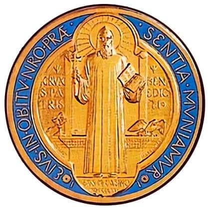 Imagen de San Benito en la medalla conmemorativa que celebra 1400 años de su nacimiento