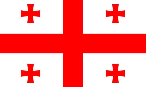 cruz de san Jorge en la bandera de Georgia junto a cuatro cruces griegas