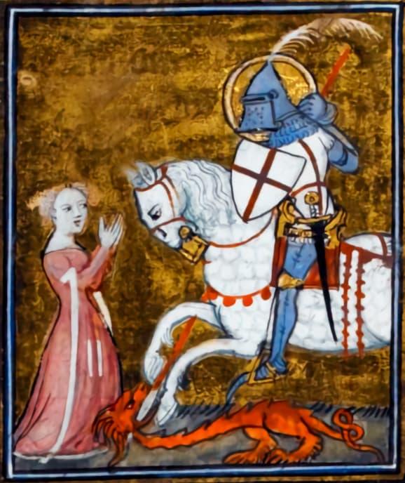 Miniatura de un manuscrito de la leyenda aurea con San Jorge y el dragón