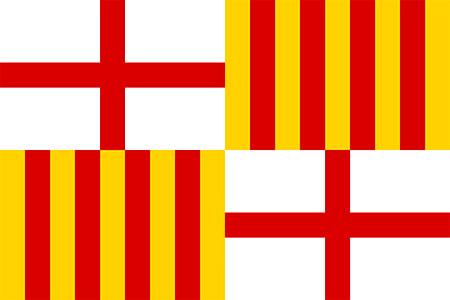 bandera de Barcelona con dos cruces de San Jorge