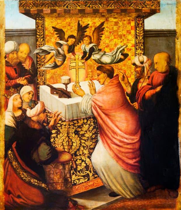 una de las pinturas de la cruz de caravaca creada por Hernando de los Llanos